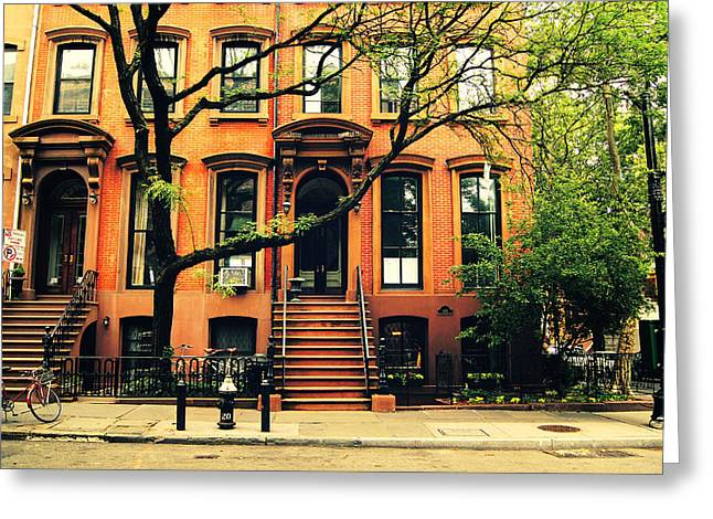 Nyc Architecture Greeting Cards - Cobble Hill Brownstones - Brooklyn - New York City Greeting Card by Vivienne Gucwa