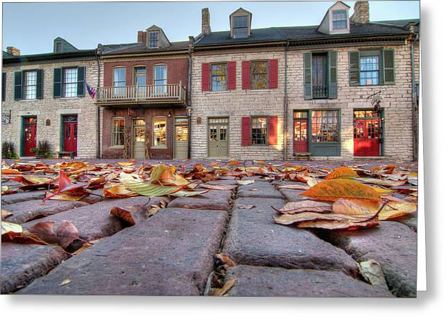 Cobblestone And Leaves Greeting Card