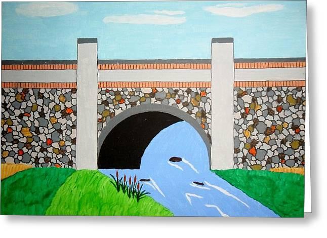 Cobblestone Bridge Greeting Card by Donald Herrick
