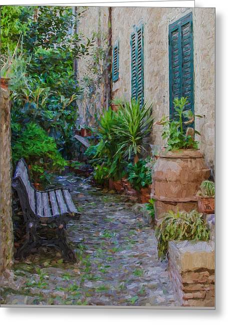 Cobblestone Courtyard Of Tuscany Greeting Card by David Letts