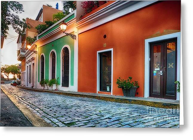 Cobblestone Street At Sunset, Old San Juan, Puerto Rico Greeting Card
