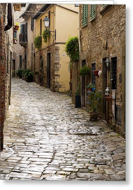 Cobblestone Street Greeting Card by Rae Tucker