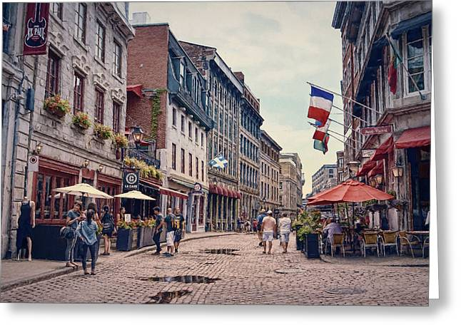 Cobblestone Streets In Old Montreal  Greeting Card by Maria Angelica Maira