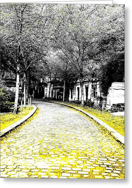 Cobblestone Streets In Yellow Greeting Card by Corinne Barreca