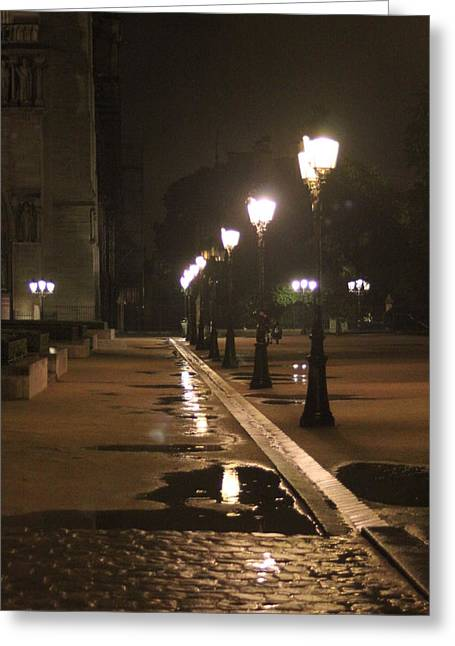Cobblestones And Street Lamps Greeting Card by Mauverneen Blevins