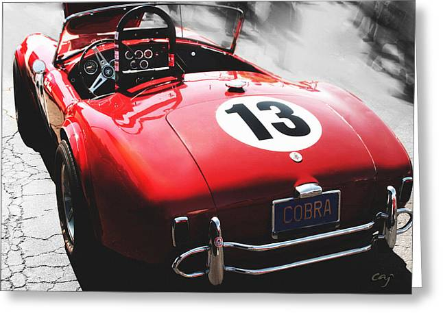 Cobra Poster Greeting Cards - Cobra in Red Greeting Card by Curt Johnson
