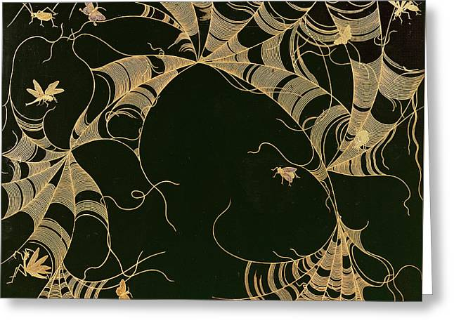 Cobwebs And Insects Greeting Card by Japanese School