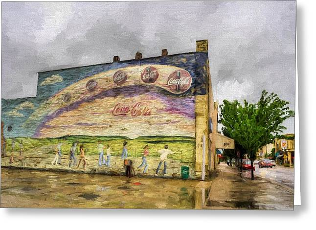 Coca-cola And Small Town Usa Greeting Card by JC Findley