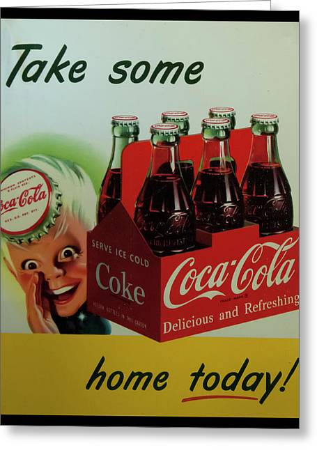 Greeting Card featuring the photograph Coca Cola Antique Sign by Chris Flees