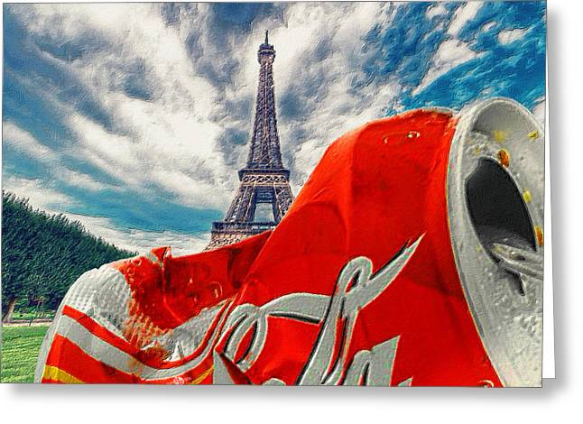 Coca-cola Can Trash Oh Yeah - And The Eiffel Tower Greeting Card by Tony Rubino