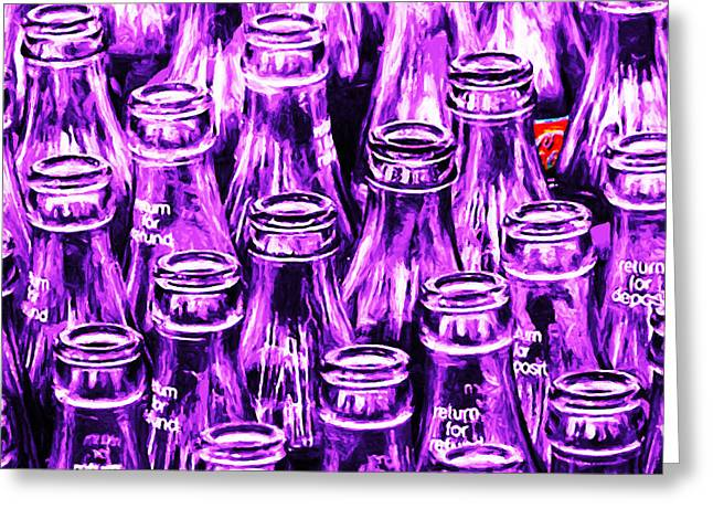 Coca-cola Coke Bottles - Return For Refund - Square - Painterly - Violet Greeting Card by Wingsdomain Art and Photography