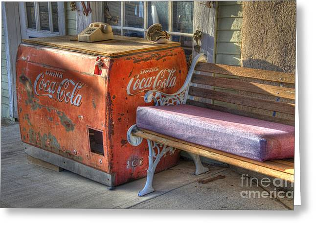 Coca Cola Cooler Back In Time Greeting Card by Bob Christopher