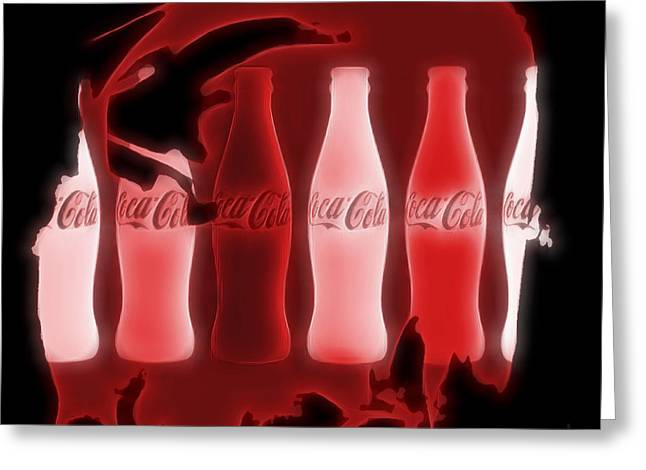 Coca Cola Electric Art Greeting Card