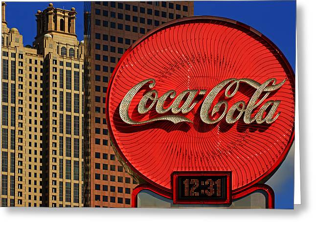 Coca Cola Neon Sign Atlanta Greeting Card