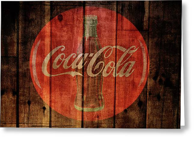 Coca Cola Old Grunge Wood Greeting Card
