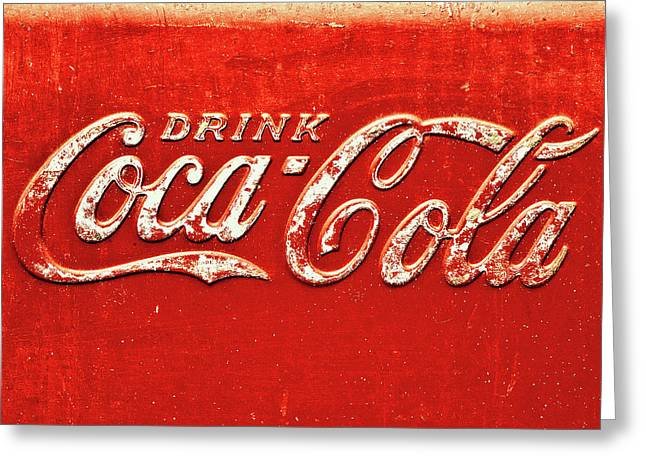 Coca Cola Rustic Greeting Card by Stephen Anderson