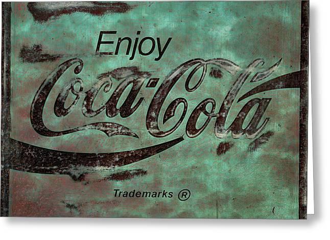 Coca Cola Sign Grungy Retro Style No Border Greeting Card