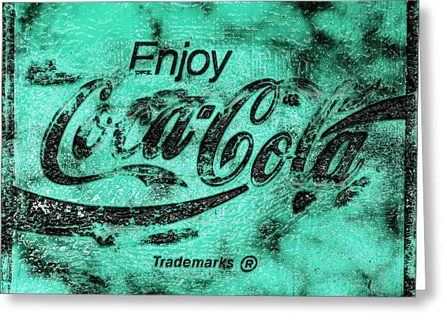 Coca Cola Sign Mottled Teal Greeting Card