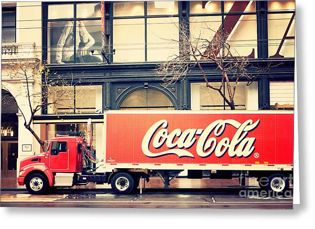 Coca-cola Truck In San Francisco Greeting Card by Kim Fearheiley