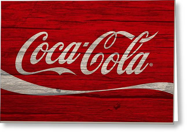 Coca Cola Worn Wood Sign Greeting Card by Dan Sproul