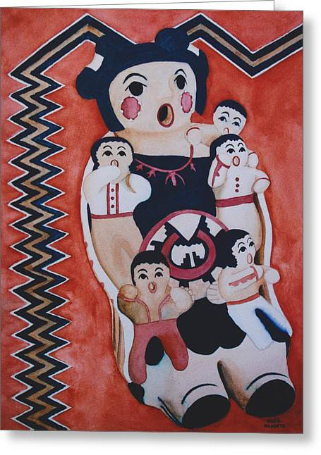 American Story Art Greeting Cards - Cochiti Storyteller Greeting Card by Eve Riser Roberts