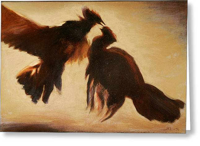 Cock Fight Greeting Card by James LeGros
