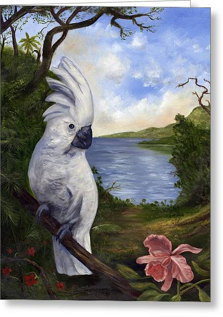 Cockatoo And Orchid Greeting Card