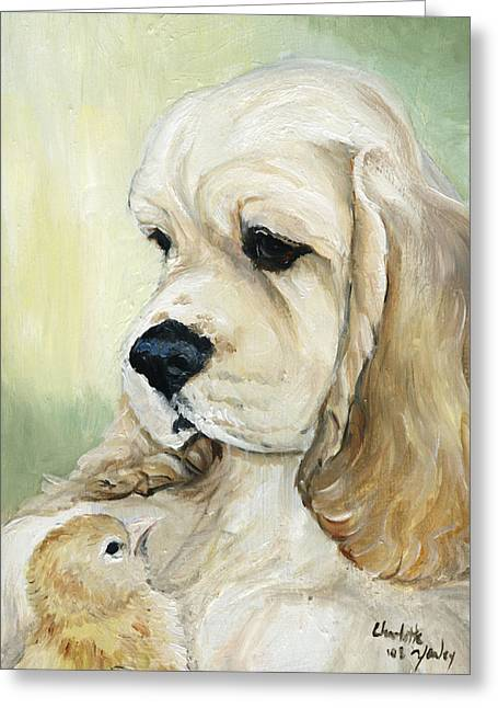 Cocker Spaniel And Chick Greeting Card