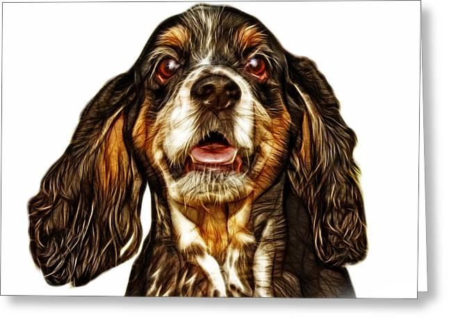 Cocker Spaniel Pop Art - 8249 - Wb Greeting Card