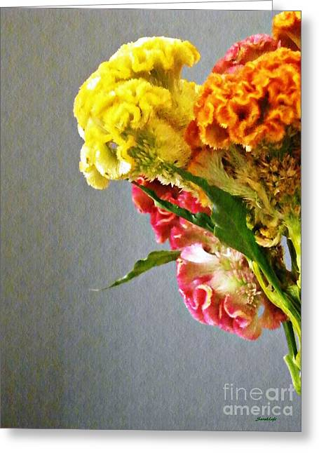 Greeting Card featuring the photograph Cockscomb Bouquet 4 by Sarah Loft