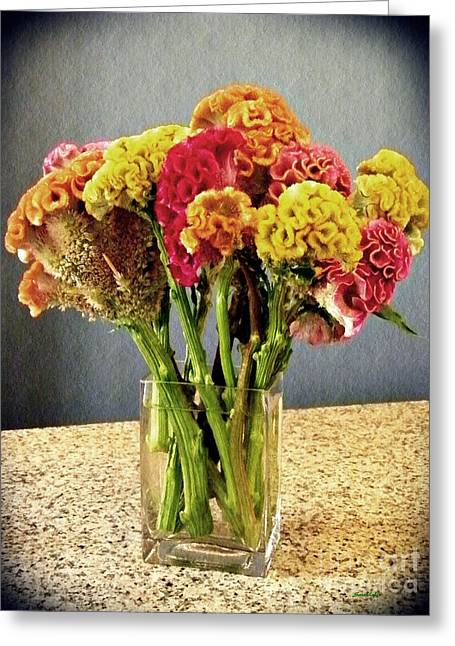 Greeting Card featuring the photograph Cockscomb Bouquet by Sarah Loft