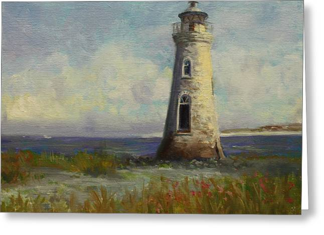 Cockspur Island Lighthouse Greeting Card by Nora Sallows