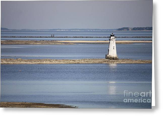 Cockspur Island Lighthouse With Jetty Greeting Card by Carol Groenen