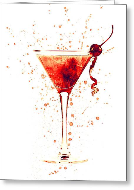 Cocktail Drinks Glass Watercolor Red Greeting Card