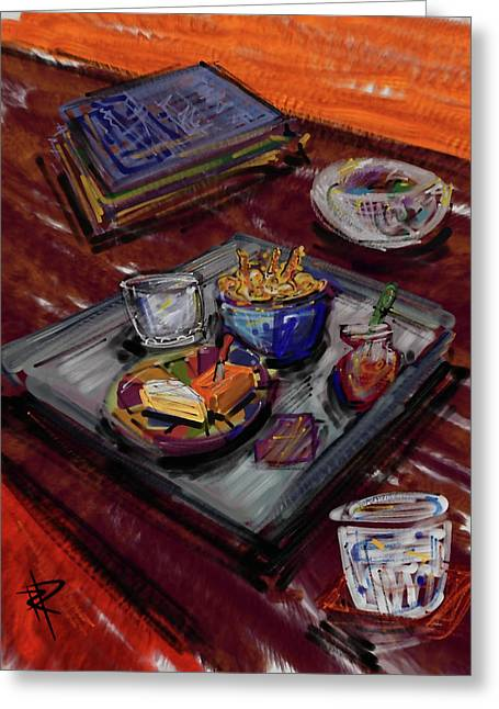 Glass Table Reflection Digital Art Greeting Cards - Cocktail Hour Greeting Card by Russell Pierce