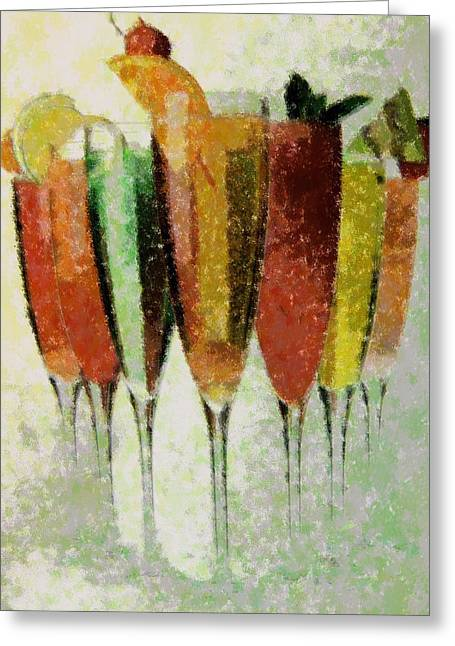 Cocktail Impression Greeting Card by Florene Welebny