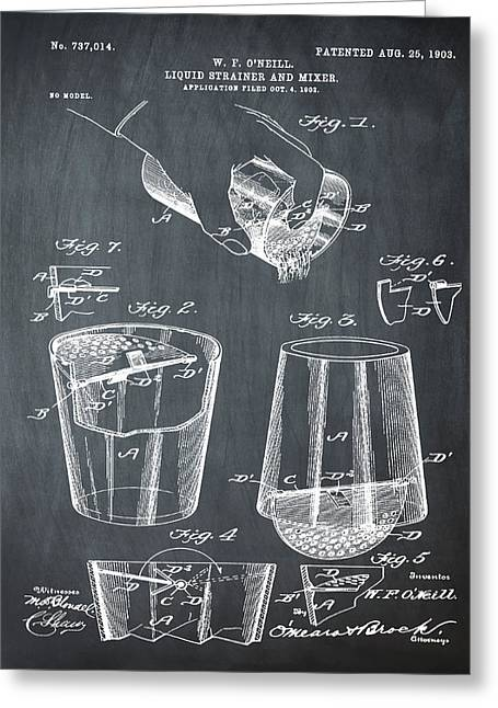 Cocktail Mixer Patent 1903 In Chalk Greeting Card