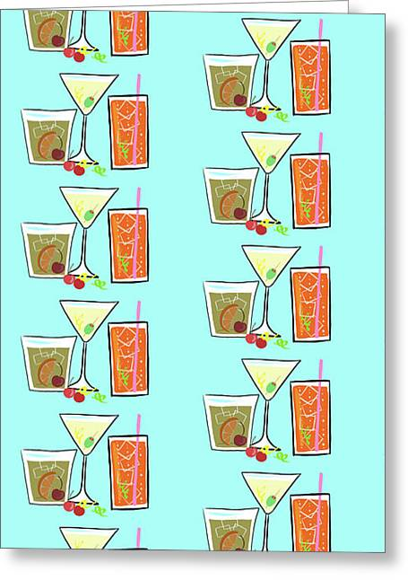Cocktail Party Pattern Greeting Card by Little Bunny Sunshine