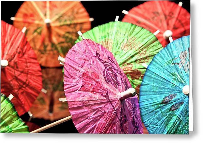 Mixed Drink Greeting Cards - Cocktail Umbrellas IV Greeting Card by Tom Mc Nemar
