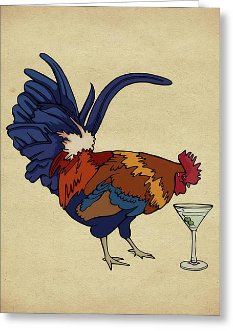Greeting Card featuring the mixed media Cocktails by Meg Shearer