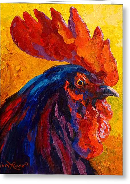 Cocky - Rooster Greeting Card by Marion Rose