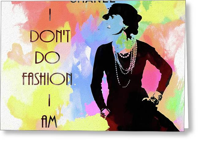 Coco Chanel Colorful Fashion Quote Greeting Card