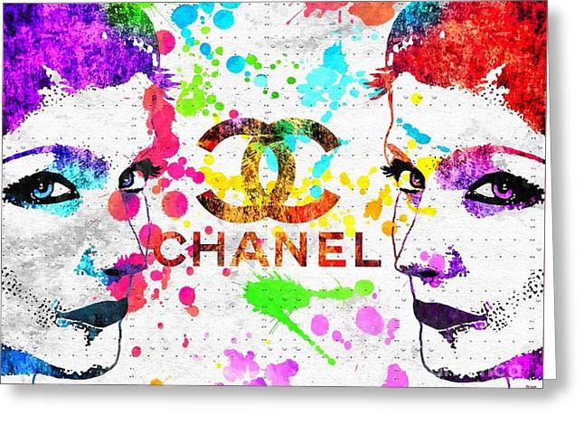 Coco Chanel Grunge Greeting Card by Daniel Janda