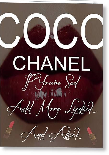 Coco Chanel Lipstick Quote Greeting Card