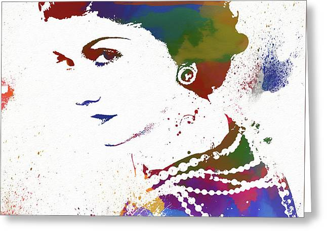 Coco Chanel Watercolor Greeting Card