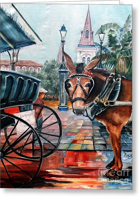 Coco In The Quarter Greeting Card by Diane Millsap