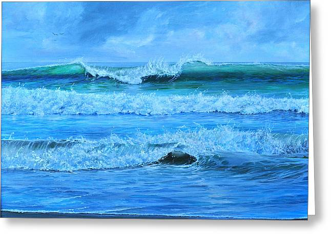 Greeting Card featuring the painting Cocoa Beach Surf by AnnaJo Vahle