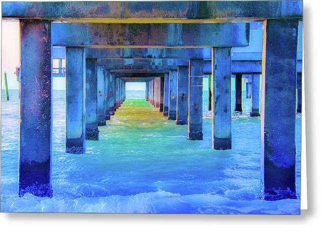 Cocoa Pier Greeting Card by Pamela Williams