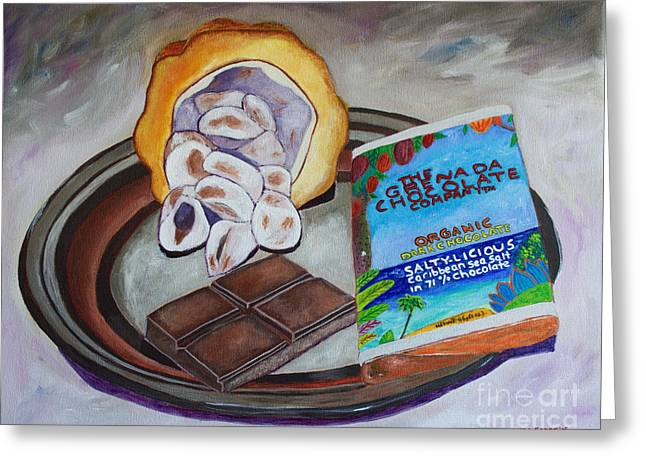 Cocoa Pod To Chocolate Bar Greeting Card by Laura Forde