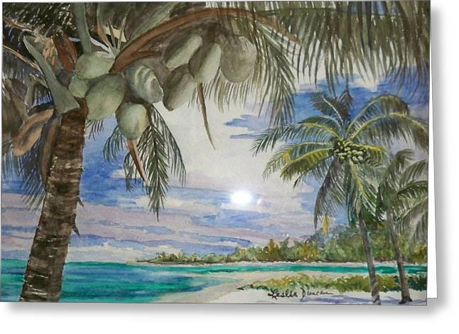 Coconut Beach Greeting Card by Leslie Duncan